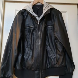 Torrid Size 2 Leather jacket w/ gray inset